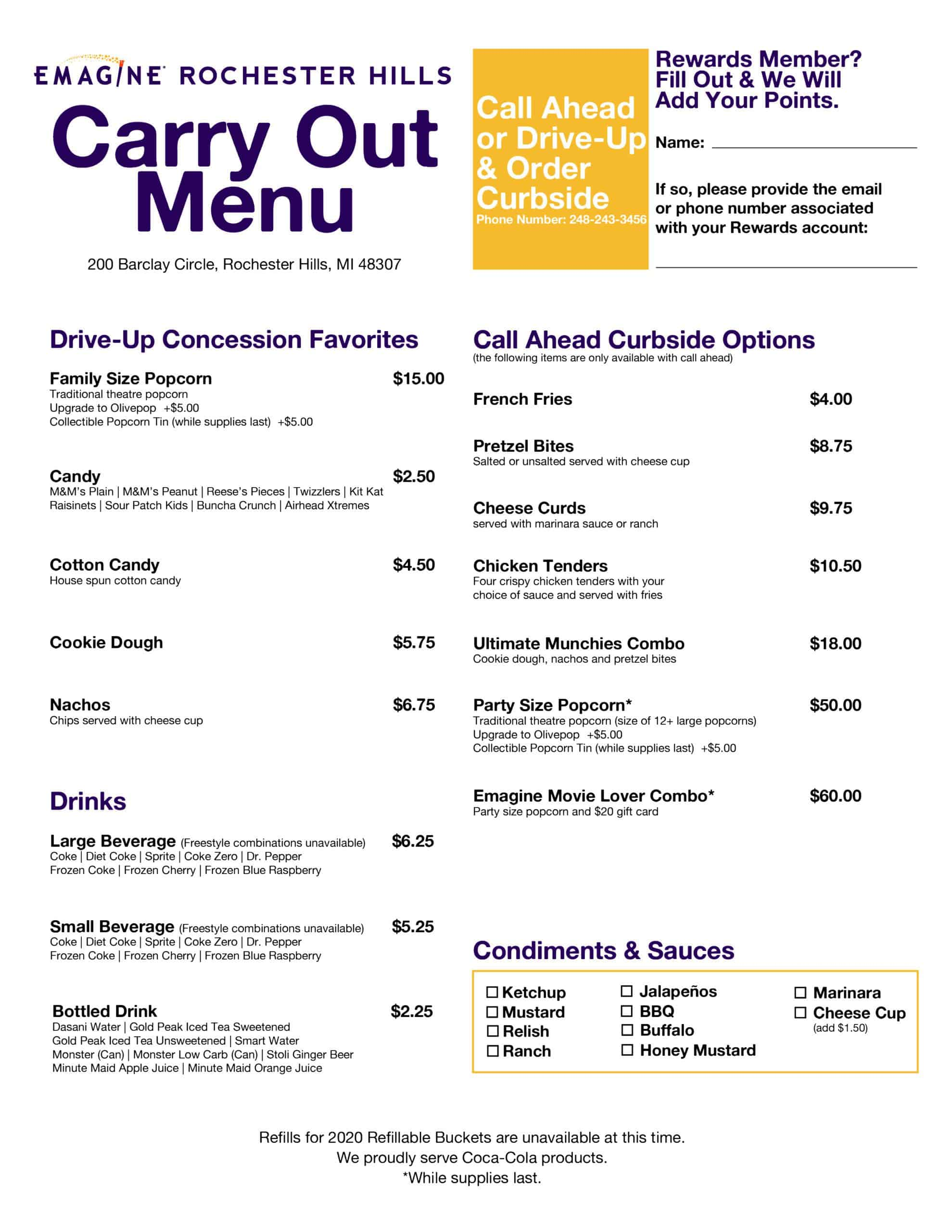 Emagine Rochester Hills Carry Out